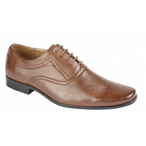 Shumo BENTLEY Mens Smart Faux Leather Formal Office Brogued Oxford Shoes Brown
