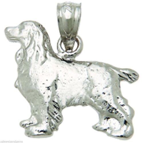 Argent Sterling 0.925 Springer Spaniel Chien Animal Charm Pendentif