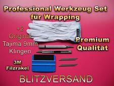 Qualität veklebe Set, 3M Rakel mit 2 mm dicken Filzkante! 30° Cuttermesser Japan