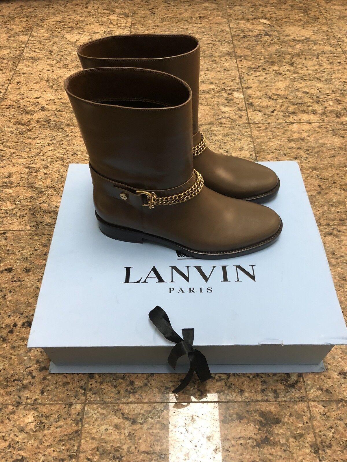 Lanvin Leather Chain Boots NIB