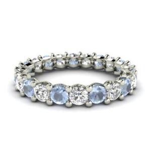 2-03-Ct-Natural-Diamond-Aquamarine-Eternity-Band-14K-White-Gold-Rings-Size-M-N-P