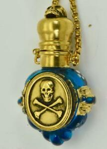 ONE-OF-A-KIND-important-antique-Victorian-Blue-Murano-Glass-SKULL-Poison-bottle