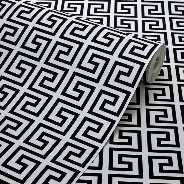 Exclusive Black/White Geometric Greek Key Velvet Flock Wallpaper (J102)