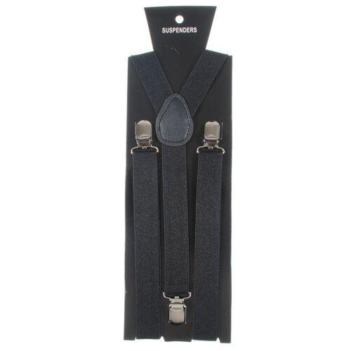 NEW Black Clip-on Elastic Y-Shape Adjustable SUSPENDERS Wedding USA SELLER