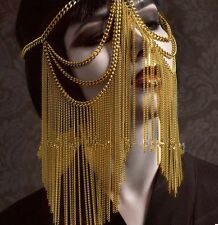 GOLD TONE HEAVY FACE MASK HEAD TASSEL METAL CHAIN ROLE PLAY COSPLAY UK SELLER