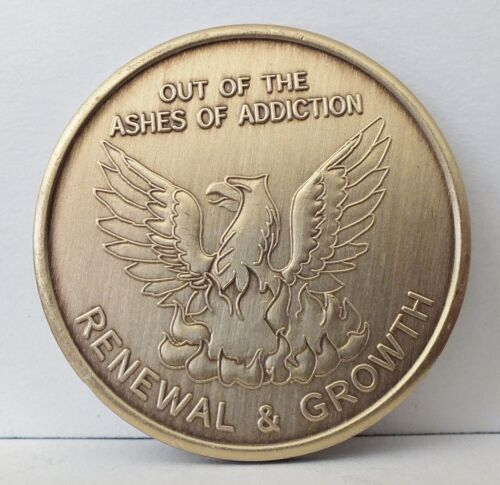 Eagle Chip Medallion Coin Medal Token AA Anonymous Alcoholic Out of the Ashes