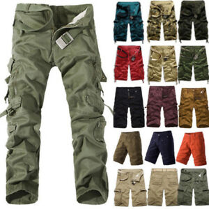 Mens-Military-Camo-Combat-Army-Cargo-Pants-Shorts-Trousers-Casual-Hiking-Pockets