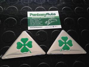 Coppia-Quadrifoglio-Verde-Grandi-Alfa-Romeo-Giulietta-Mito-147-159-Fregio-Stemma