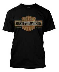 Harley-Davidson-Men-039-s-Distressed-Elongated-Bar-amp-Shield-Black-T-Shirt-30296553