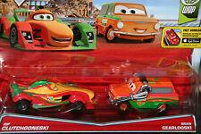 """DISNEY PIXAR CARS """"2-PACK RIP CLUTCHGONESKI / BRIAN GEARLOOSKI"""" NEW IN PACKAGE"""