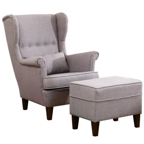 Upholstered Orthopeadic Wing Back Armchair Lounge Chair with Foot Stool Chenille