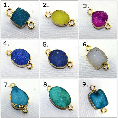 Elite 24k Gold Electroplated Natural Geode Slice Druzy Connector Making Jewelry