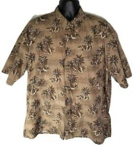 Pierre-Cardin-Men-039-s-XXL-Hawaiian-Palm-Tree-Shirt-Brown-100-Cotton