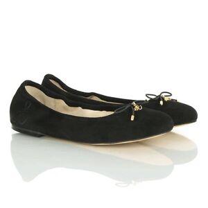 34bc221fd2d2 Sam Edelman Felicia Black Suede Leather Flat Ballet Pump Women  039 ...