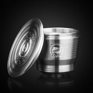 Silver-Stainless-Steel-Refillable-Reusable-Coffee-Capsule-Pod-For-Nespresso
