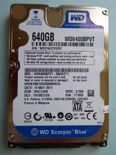 1 von 1 - Western Digital WD6400BPVT-80HXZT1 | DMC: HHCTJHN | 14 MAY 2011 | 640 GB