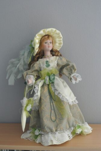 "Beautiful Porcelain Doll w. Green Eyes 16"" w. Stand"