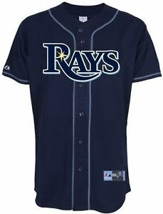 Tampa-Bay-Rays-Jersey-4XL-Home-Navy-Majestic-MLB-Embroidered-Logos