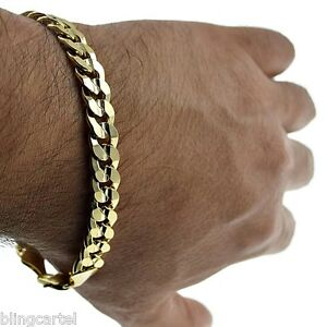 Image Is Loading Curb Cuban Link 9mm Chain Bracelet 14k Gold