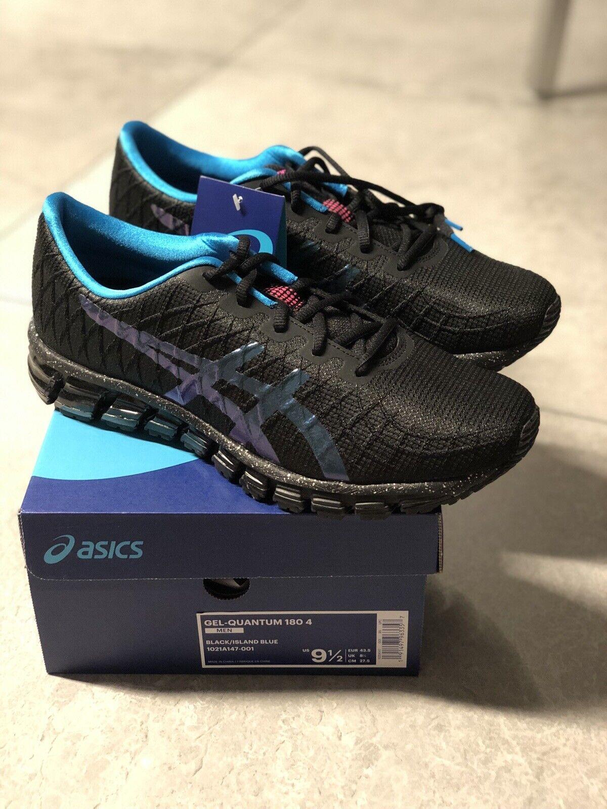 Asics Para Hombre Gel-Quantum 180 4 Zapatillas 1021A147 Negro Isla Azul 9.5