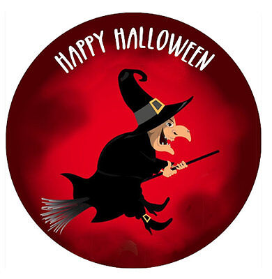 """HALLOWEEN WITCH BROOM Round 7.5/""""// 20 x 2/"""" Edible Cake Topper ICING PERSONALISED"""
