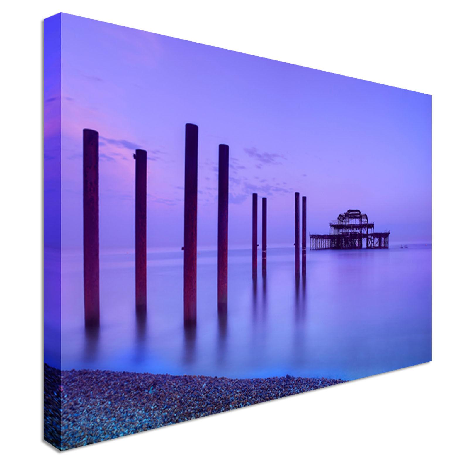 West Pier In Brighton At Dawn England Canvas Wall Art prints high quality