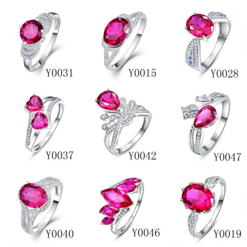 Free Jewelry Box Ruby /& White Topaz 100/% 925 Sterling Silver Rings Size 6 7 8 9