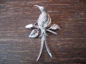 Traum-Art-Deco-Markasit-Brosche-Paradiesvogel-Kolibri-925er-Silber-TOP-Zustand