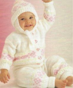 8218b47ae53d Baby Jacket Trousers and Hat Fairisle Set Knitting Pattern DK 16-20 ...