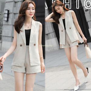 OL-Women-039-s-Formal-Fashion-Vest-Casual-Work-Two-Piece-Top-Coat-Jacket-Suit-Blazer