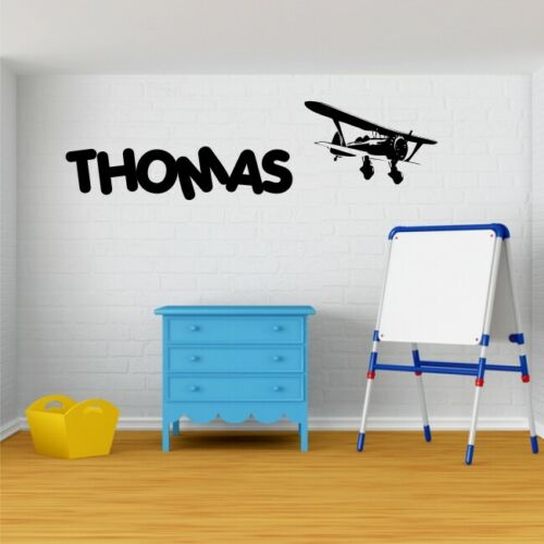 PERSONALISED BIPLANE wall stickers for boys bedroom playroom decals