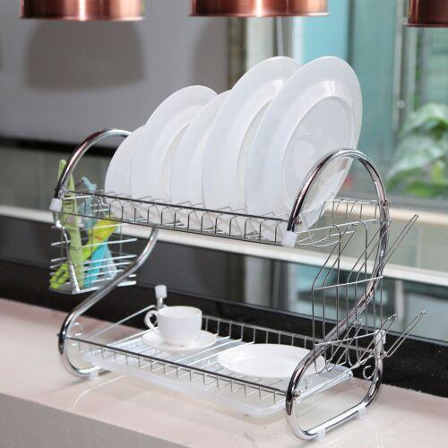 Kitchen Storage Dish Cup 2-Tier Dryer Drying Rack Holder Organizer Drainer Dryer