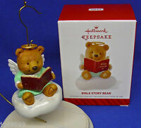 Hallmark Ornament Bible Story Bear 2014 Angel On Cloud Reading Book