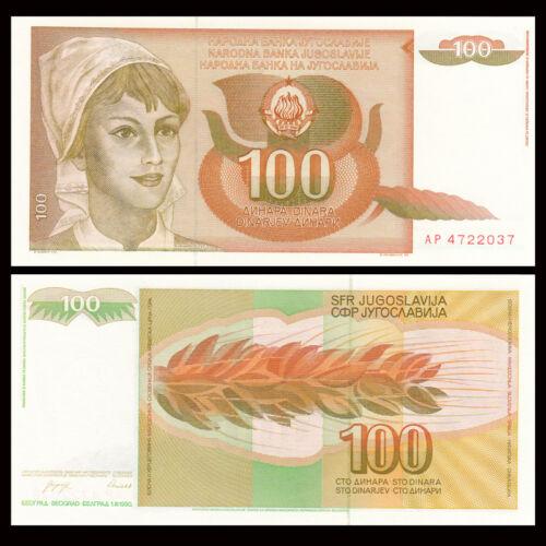 UNC P-105 Yugoslavia 100 Dinara 1//10 Bundle,banknote Lot 10 PCS 1990