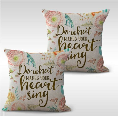 set of 2 do what makes your heart sing flower throw pillows for sofa