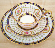 PARAGON Star China Tea Cup Saucer and Plate Trio Set Cobalt Blue Pink Roses Gold