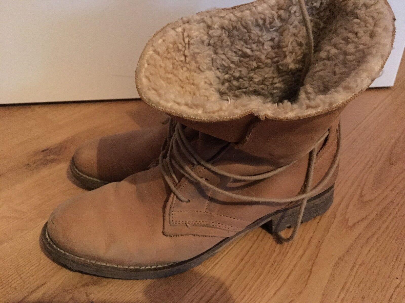 Damen WinterStiefel Boots Stiefel Schneestiefel Leder Hellbraun Gr.40