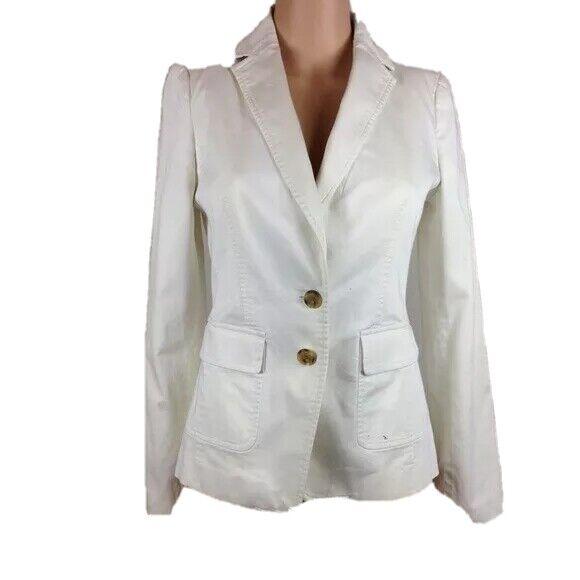 Banana Republic x Trina Turk White Blazer Sz 0 XS Cotton Stretch Jacket