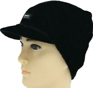 mens womens black knitted beanie thermal peak cap hat