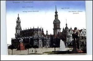 DRESDEN-um-1925-Partie-am-Theaterplatz-Theater-Denkmal-AK-Kunstverlag-Carl-Doege