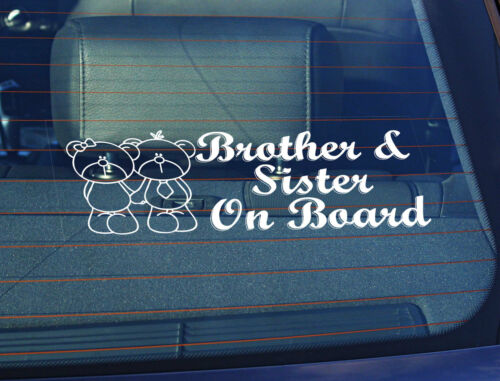 Static Cling Window Car Sign//Decal Brother /& Sister on Board 100 x 250mm Stamfa