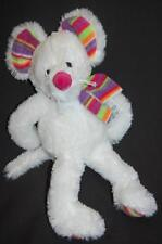 "White Mouse Multi Colored Ears Scarf Feet Lovey TOY 14"" Plush Stuffed Animal"