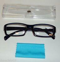 Unisex Reading Glasses Black/blue Frame Clear Case & Blue Lens Swipe +2.75