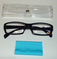Unisex Reading Glasses Black/blue Frame Clear Case & Blue Lens Swipe +2.75