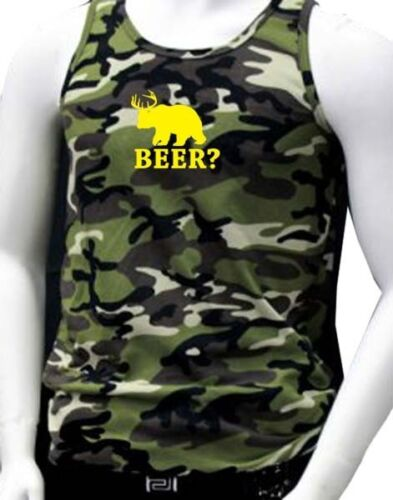 "NW MEN/'S PRINTED /""BEER?/"" DEAR BEAR FUNNY DESIGN CAMOUFLAGE PRO-5 ARMY TANK TOP"