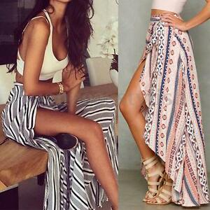 Women-039-s-Summer-Sheer-Floral-Print-Chiffon-Long-Maxi-Skirts-Split-Wrap-Sun-Dress