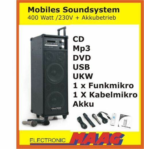 MOBILE DJ PA KARAOKE PARTY SOUND MUSIK ANLAGE 400W LAUTSPRECHER 2x MIKRO MP3 USB