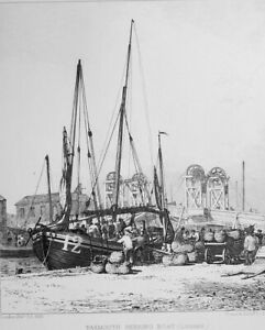 LUGGER-Yarmouth-Herring-Boat-Unloading-Original-Etching-Print-by-E-W-Cooke
