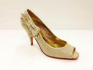 LODI Storm (12065) SPANISH DESIGNER Womens Beige Gold Peep Toe Court Shoes