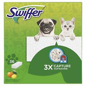 Swiffer-Lingettes-Seches-Balai-Sweeper-pour-Animaux-36-Unites-Attrape-Lot-de-2